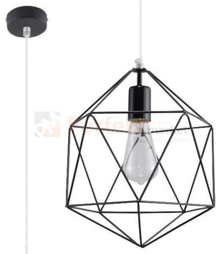Lampa wisząca druciana design Gaspare czarna geometryczna